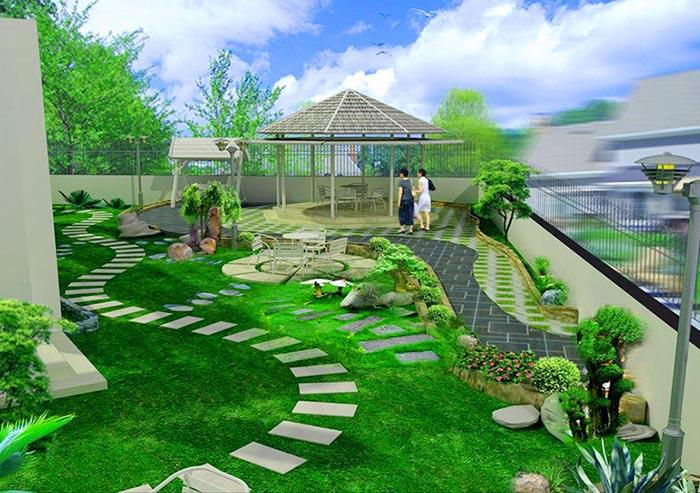 mẫu sân vườn đẹp đơn giản