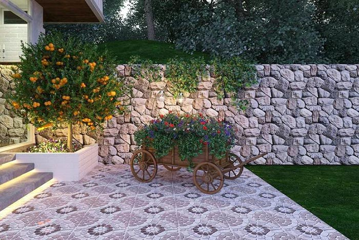 phối cảnh gạch lát sân vườn đẹp