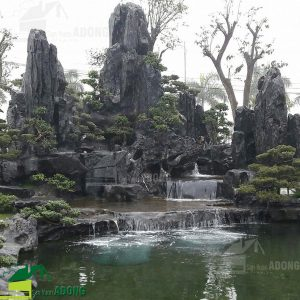 thi công hòn non bộ kết hợp hồ cá koi biệt thự tại Ninh Bình