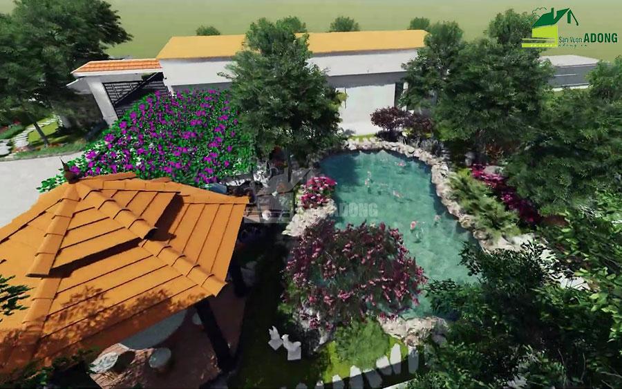thiết kế cảnh quan sân vườn biệt thự tại Hà Nam view 08