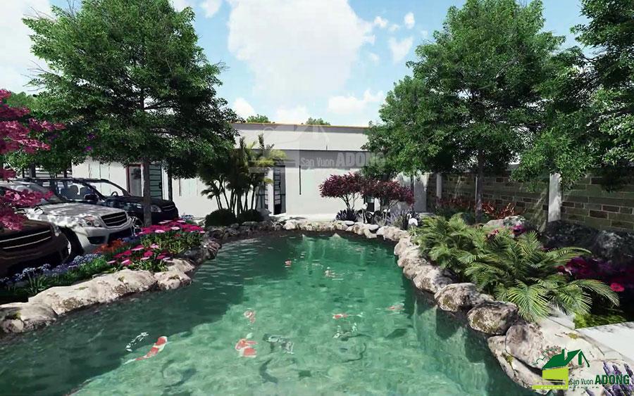 thiết kế cảnh quan sân vườn biệt thự tại Hà Nam view 11