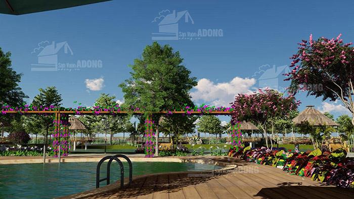 thiết kế cảnh quan sân vườn resort tại cần thơ