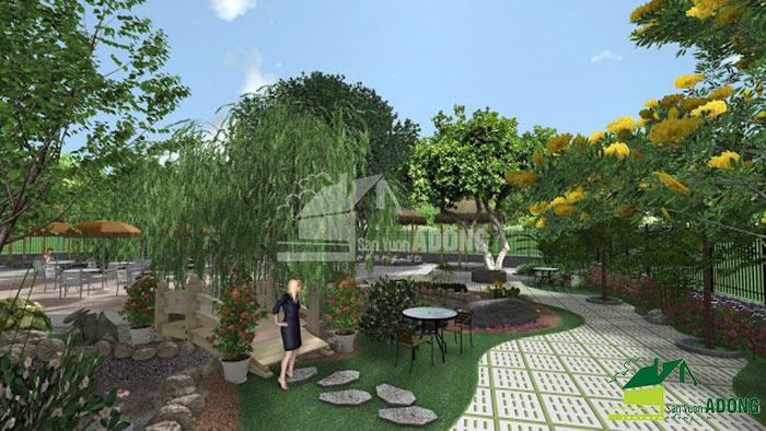 thiết kế không gian quán cafe sân vườn view 03
