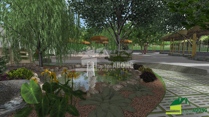 thiết kế không gian quán cafe sân vườn view 04