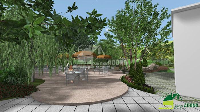 thiết kế không gian quán cafe sân vườn view 05