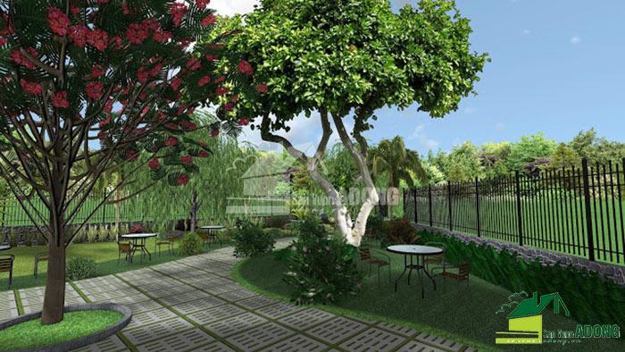 thiết kế không gian quán cafe sân vườn view 09