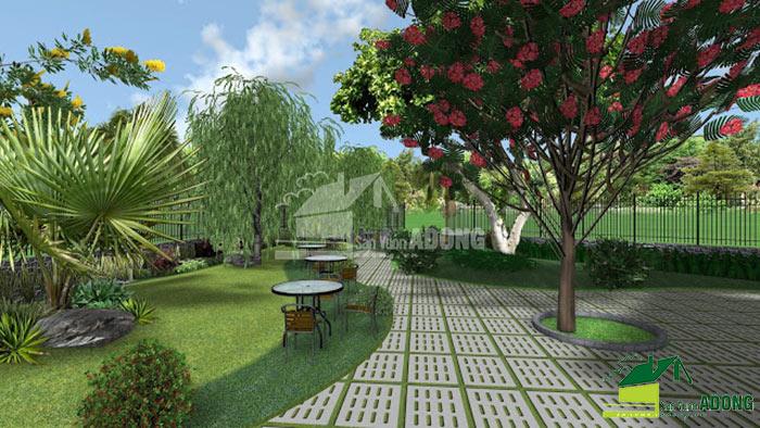 thiết kế không gian quán cafe sân vườn view 10