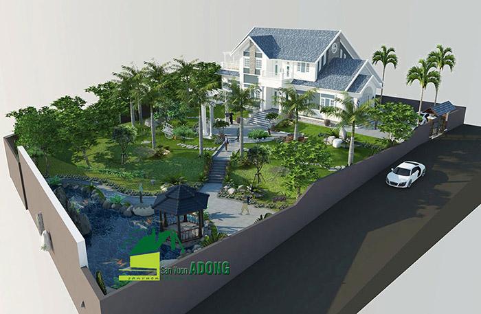 thiết kế thi công sân vườn biệt thự tại Sơn La