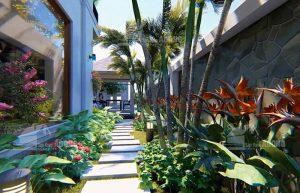 thiết kế tiểu cảnh sân vườn bên hông biệt thự